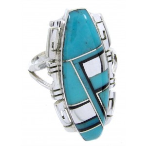 Turquoise Jet Genuine Sterling Silver Inlay Ring Size 6-1/4 BW66748