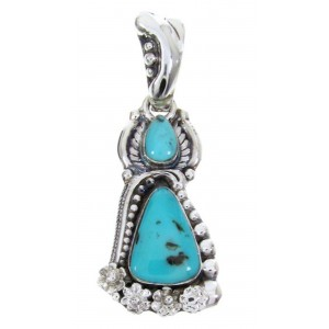 Southwest Jewelry Turquoise Genuine Sterling Silver Pendant AW67690
