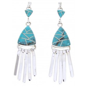 Southwestern Turquoise Sterling Silver Post Dangle Earrings AW68489