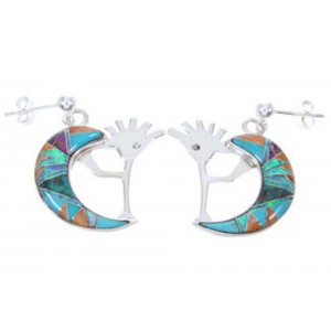Multicolor Inlay Whiterock Sunrise Kokopelli Post Earrings YS68999