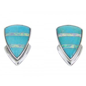 Sterling Silver Turquoise Opal Inlay Post Earrings Jewelry AW68690