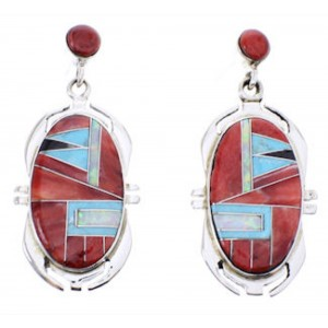Multicolor Red Oyster Shell Inlay Silver Post Dangle Earrings BW68866