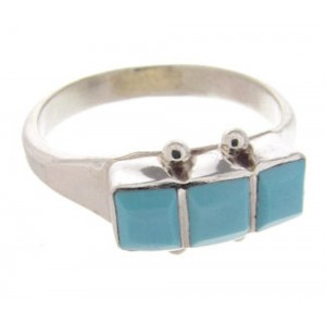 Native American Zuni Turquoise Inlay Ring Size 7-1/2 AW69429