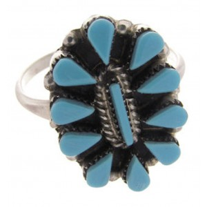 American Indian Turquoise Authentic Sterling Silver Ring Size 6-1/2 AX58272