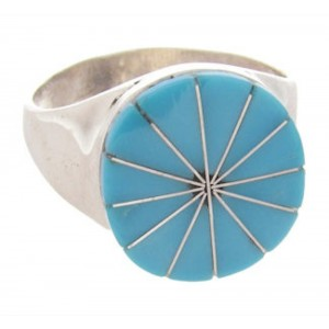 Native American Zuni Indian Silver Turquoise Ring Size 5-1/2 AW69553