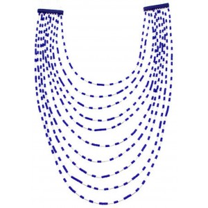 Lapis Bead Jewelry Liquid Silver 10-Strand Necklace BW69177