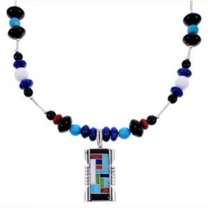 Multicolor Sterling Silver Bead Necklace PS71336