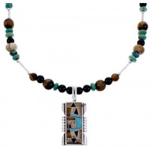 Genuine Sterling Silver Multicolor Bead Necklace PS71311
