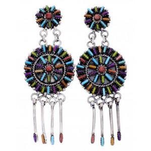 Turquoise Multicolor Silver Post Dangle Earrings Jewelry AW69369