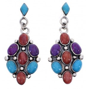 Sterling Silver Jewelry Turquoise Multicolor Post Earrings AW69302