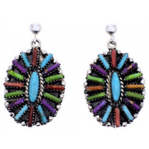 Multicolor Genuine Sterling Silver Needlepoint Post Dangle Earrings RX100372