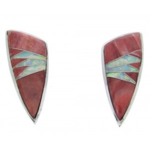 Red Oyster Shell Opal Jewelry Sterling Silver Post Earrings AW69845