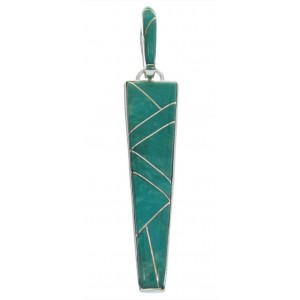 Sterling Silver Southwestern Jewelry Turquoise Inlay Pendant AW70478