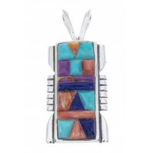 Multicolor Turquoise Inlay Southwest Sterling Silver Pendant AW70134