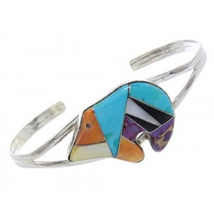 Multicolor And Genuine Sterling Silver Bear Cuff Bracelet BW70332