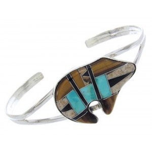 Multicolor Inlay Sterling Silver Jewelry Bear Cuff Bracelet BW70019