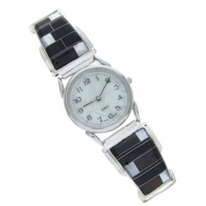 Mother Of Pearl Black Jade Inlay Silver Jewelry Watch MW70260