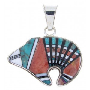Southwest Multicolor Turquoise Oyster Shell Bear Pendant AW70240