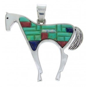 Sterling Silver Multicolor Horse Jewelry Pendant YS70209