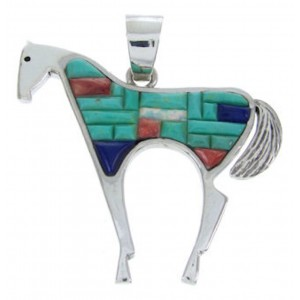 Southwest Silver And Multicolor Horse Jewelry Pendant YS70212