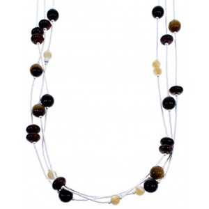Liquid Silver 3-Strand Multicolor Tiger Eye Bead Necklace BW71743