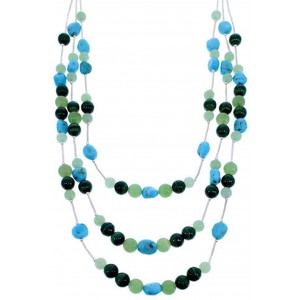 Turquoise Multicolor Liquid Jewelry 3-Strand Bead Necklace BW71771