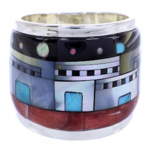 Multicolor Native American Village Design Ring Size 6-1/2 YS71195