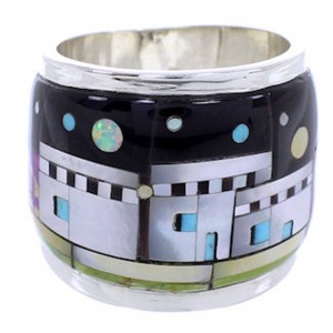 Multicolor Native American Design Silver Ring Size 6-3/4 YS71239