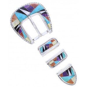 Turquoise Sterling Silver Multicolor Ranger Belt Buckle AW70594
