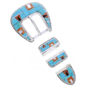 Turquoise Oyster Shell Multicolor Silver Ranger Belt Buckle AW70606