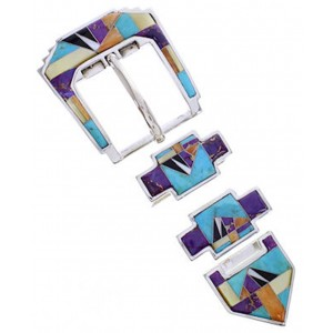 Southwest Multicolor Turquoise Silver Ranger Belt Buckle AW70592