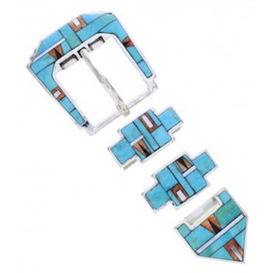 Southwest Multicolor Turquoise Silver Ranger Belt Buckle AW70614