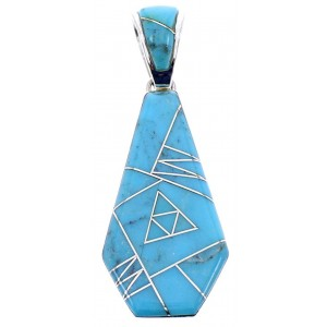 Southwest Turquoise Inlay Silver Reversible Pendant BW70970