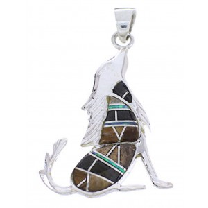 Sterling Silver And Multicolor Inlay Coyote Slide Pendant BW70843
