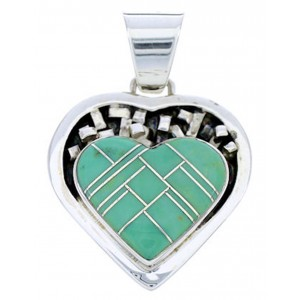 Southwest Sterling Silver And Turquoise Inlay Heart Pendant WX78042