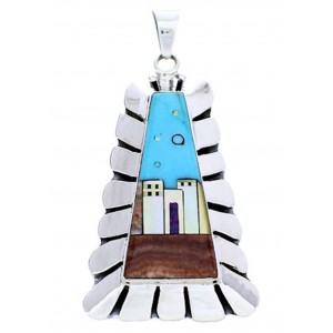 Native American Village Or Pueblo Design Multicolor Pendant YS71430