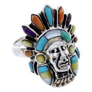 Multicolor Sterling Silver Chief Head Ring Size 8-1/4 Jewelry NS43138