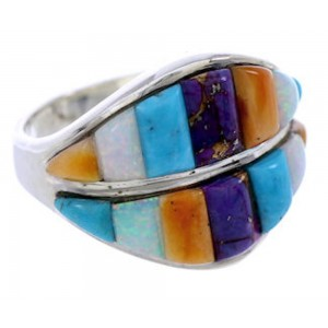 Turquoise Multicolor Inlay Jewelry Ring Size 7-3/4 BW71577