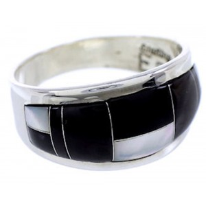 Silver Black Jade Mother Of Pearl Jewelry Ring Size 8-1/2 RS43320