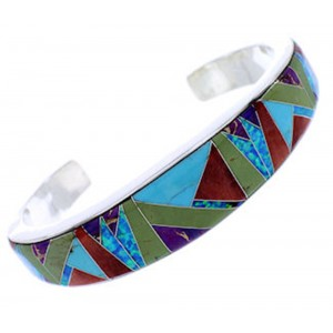 Whiterock Multicolor Inlay Sterling Silver Cuff Bracelet YS71829