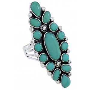 Southwest Sterling Silver And Turquoise Ring Size 8-1/2 DW72454