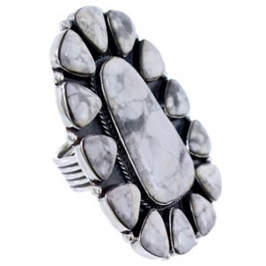 Sterling Silver Howlite Large Statement Piece Ring Size 6-1/2 PS72492