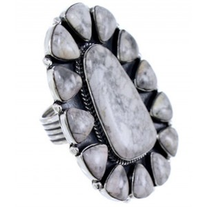 Howlite Large Statement Piece Southwestern Ring Size 9-1/2 PS72499