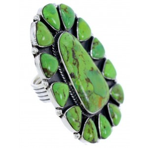 Mojave Turquoise Silver Large Statement Ring Size 6-1/2 BW72125