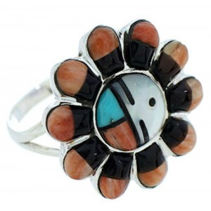 Sun Multicolor Inlay Ring Size 7-3/4 YS72115