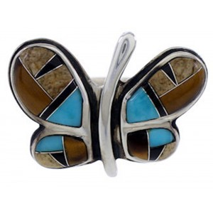 Sterling Silver Multicolor Inlay Butterfly Ring Size 7-3/4 AS42921