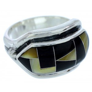 Yellow Mother Of Pearl And Black Jade Jewelry Ring Size 6-3/4 BW72411