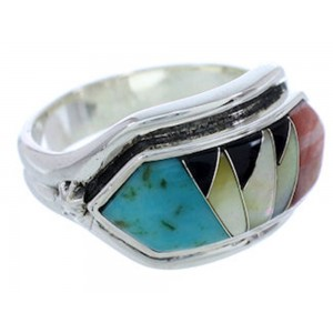 Southwest Multicolor Silver Ring Size 7-1/2 YS72309