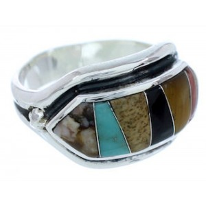 Multicolor Inlay Jewelry Sterling Silver Ring Size 5-3/4 YS72518