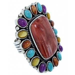 Sterling Silver Multicolor Large Statement Ring Size 7-3/4 BW72554